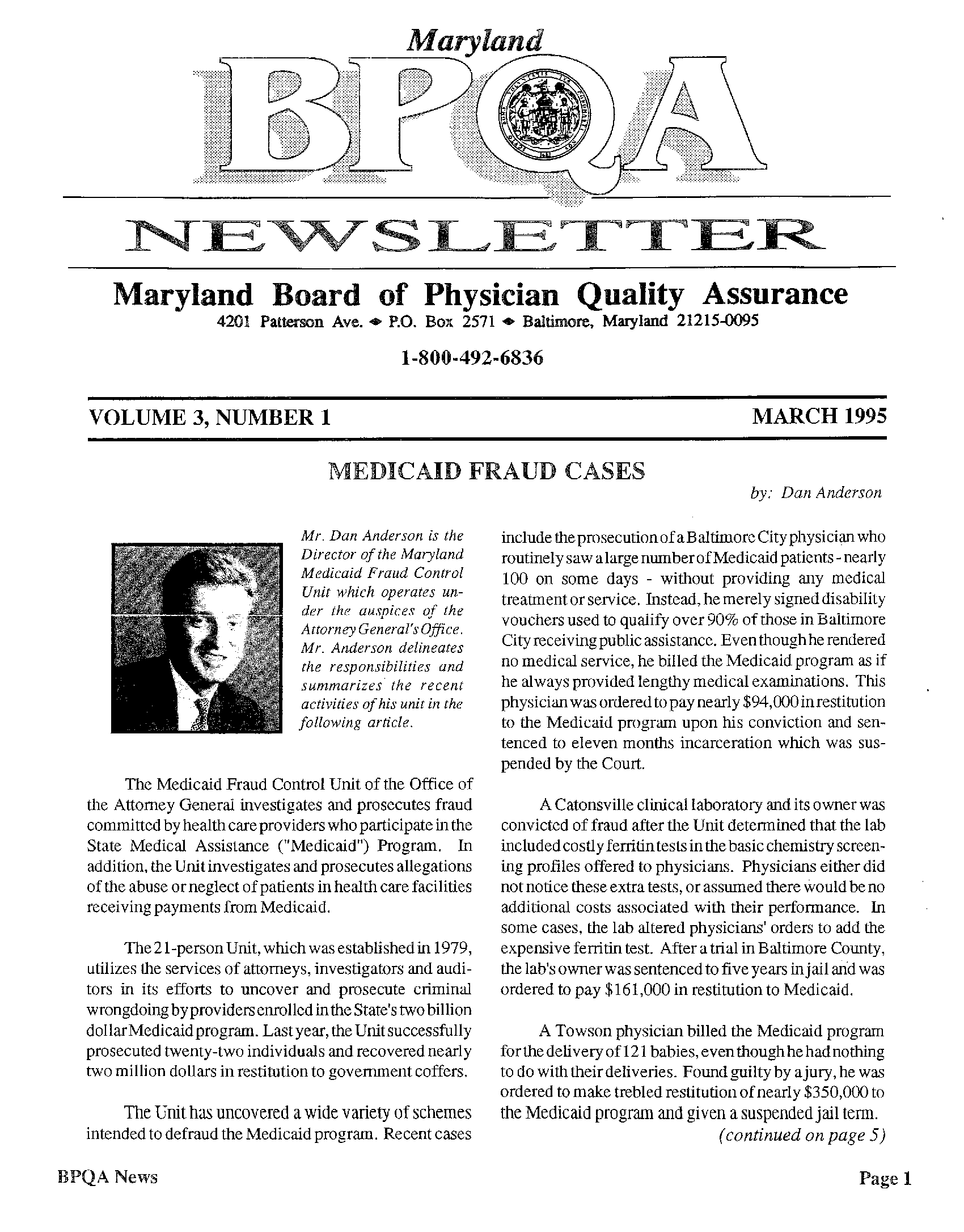Maryland BPQA Newsletter - Volume 3, Number 1 (March 1995) - State