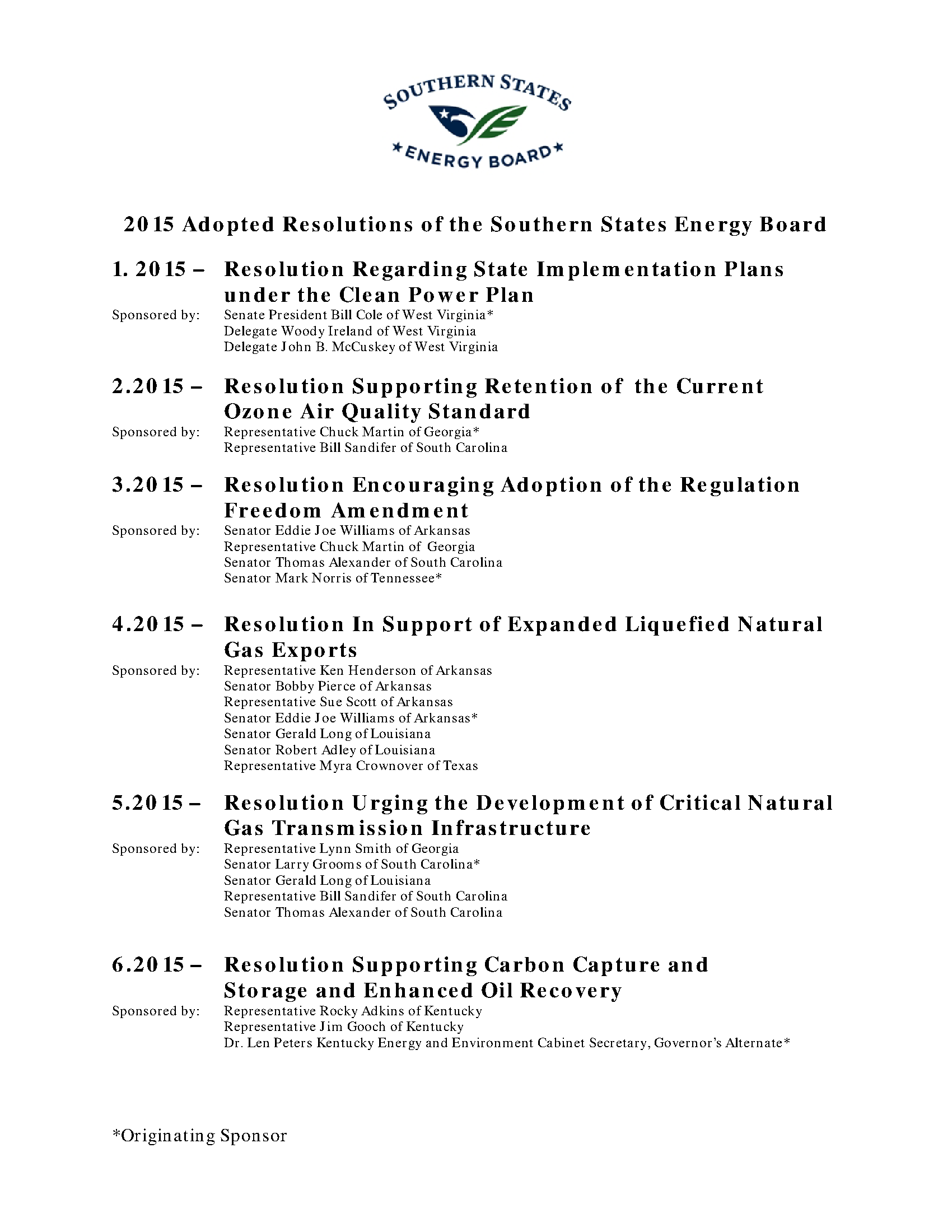 Southern States Energy Board - Adopted Resolutions (2015
